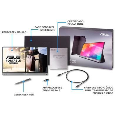 Monitor Portátil Asus ZenScreen LED 15.6´ Widescreen, Full HD, IPS, USB Tipo-C, Dark Gray - MB16AC