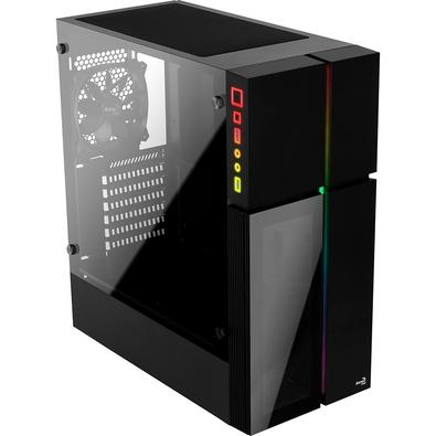 Gabinete Gamer Aerocool Playa, Mid Tower, RGB, 1 Cooler, Lateral e Frontal em Vidro