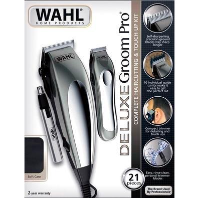 Máquina de Corte Wahl Clipper Deluxe Groom Pro Profissional, Sem Fio, 10 Pentes, Prata, 220V - 79305-3648