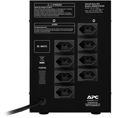 Nobreak APC Back-UPS 600VA, 8 Tomadas, Bivolt - BZ600PDVBI-BR