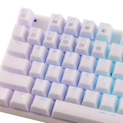Teclado Mecânico Gamer OEX Phantom, LED, Switch Outemu Blue, US, Branco - TC700