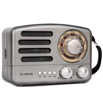 Rádio Portátil Telespark Rodstar - Bluetooth, MP3, USB, SD, FM, 10W RMS Cinza - 7112