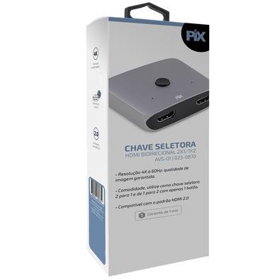 Chave Seletora PIX HDMI M - 3 HDMI F, Compatível com TV 3D, 60 cm - 023-0870