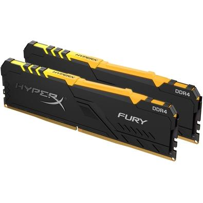 Memória HyperX Fury RGB, 32GB (2x16GB), 2400MHz, DDR4, CL15, Preto - HX424C15FB3AK2/32