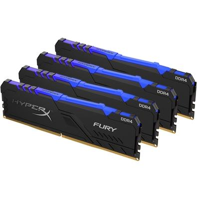 Memória HyperX Fury RGB, 32GB (4x8GB), 3000MHz, DDR4, CL15, Preto - HX430C15FB3AK4/32