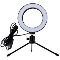 Clip de LED Ring Light Selfie MD9 com Tripé, Branco