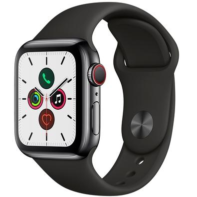 Apple Watch Series 5, GPS + Cellular, 40mm, Cinza Espacial, Pulseira Preta - MWX82BZ/A