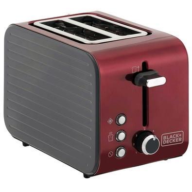 Tostador Elétrico Black + Decker Perfect Roast, 7 Níveis de Tostagem, 220V, Inox Vermelho - T850V-B2