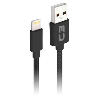 Cabo Lightning x USB, C3 Plus, 1m, Nylon, Preto - CB-L11BK