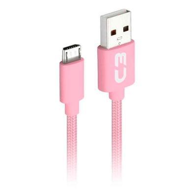 Cabo Micro USB x USB, C3 Plus, 1m, Nylon, Rosa - CB-M11PK