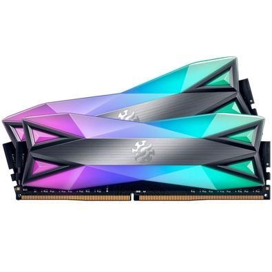 Memória XPG Spectrix D60G, RGB, 16GB (2x8GB), 3200MHz, DDR4, CL16, Cinza - AX4U320038G16A-DT60