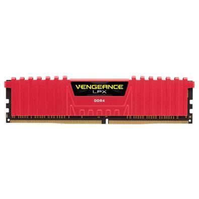 Memória Corsair Vengeance LPX 16GB (2x8GB) 2400Mhz DDR4 C16 Red - CMK16GX4M2A2400C16R