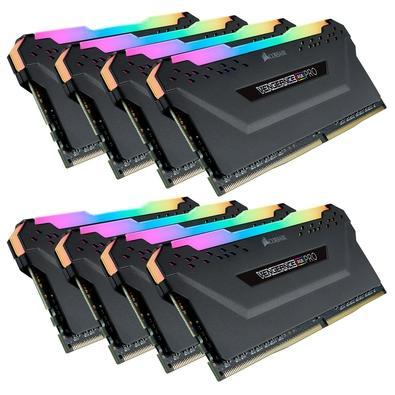 Memória Corsair Vengeance RGB Pro 128GB (8x16GB) 3000MHz DDR4 C16 Black - CMW128GX4M8C3000C16