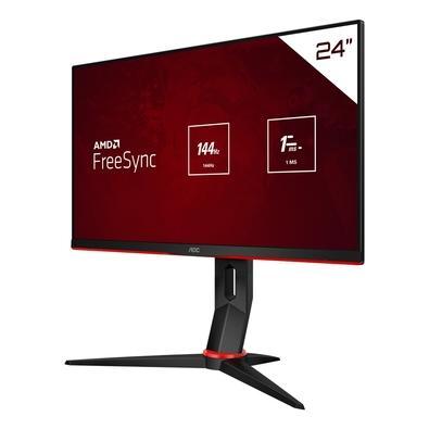 Monitor Gamer AOC HERO W-LED 23.8´ Widescreen, FHD, IPS, HDMI, DisplayPort, FreeSync, 144Hz, 1ms, Altura Ajustável - 24G2/BK