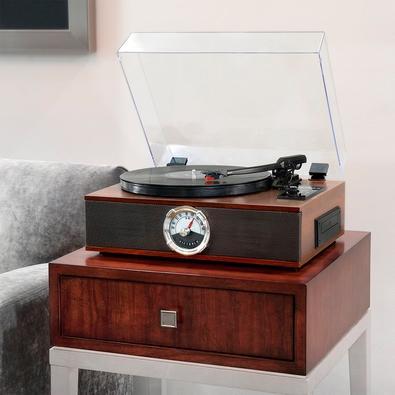 Toca Discos Victrola 5 em 1, Bluetooth, Gravador, CD, FM, Madeira - VTA-60-ESP