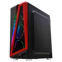 Gabinete Gamer K-Mex Hawk III, Mid Tower, RGB, Lateral em Vidro, Preto/Vermelho - CG03QIRH0010B0X