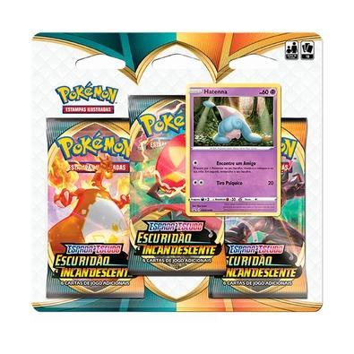 Blister Triplo Pokémon Espada e Escudo 3, Escuridão Incandescente, Hatenna - 89089