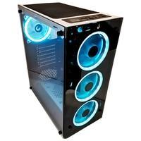Gabinete Gamer Rise Mode Glass 06 Branco e Preto, RGB, 6x Fans Inclusas, Lateral em Vidro Temperado - RM-WT-06-RGB