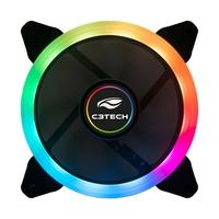 Cooler Fan C3Tech 120mm, LED Multi Cores, Preto - F7-L200RGB