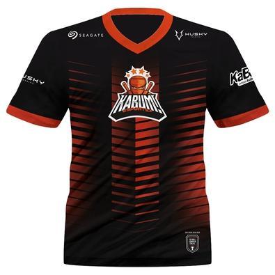 Camiseta Uniforme Oficial KaBuM! e-Sports 2021, Preta, Laranja, Ninja, Dry-Fit, Proteção UV 50+, 100% Poliester, Tamanho GG