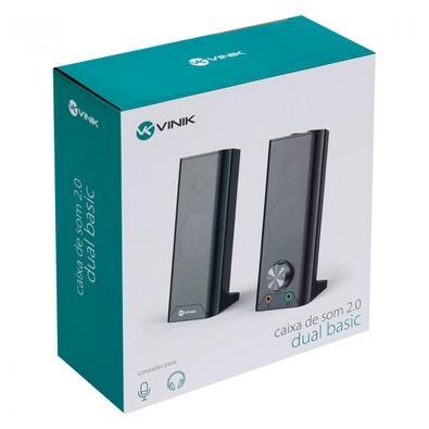 Caixa de Som Vinik 2.0 Dual Basic CXDU-BSIC, 6W, Conexão P2 e USB, Preto - 34862