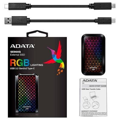 SSD Externo Adata SE900G 1TB, USB 3.2 Tipo C, com Painel RGB, Preto - ASE900G-1TU32G2-CBK