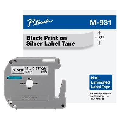 Fita Brother M931 12mm, Compatível com PT70, PT70BM e PT80, Prata