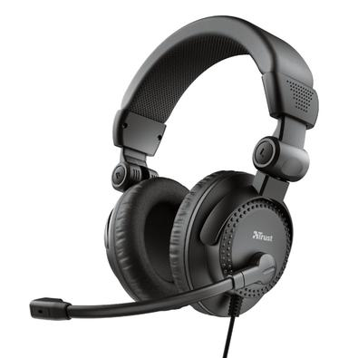 Headset Trust Como, Conexão 3.5mm, com Microfone Flexível, Cabo de 2.5m com Controle de Volume, Preto - 21658