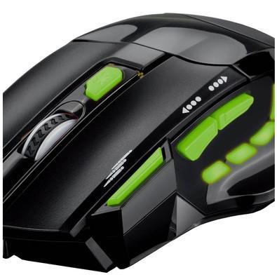 Mouse Gamer Multilaser 2400DPI 7 Botões Preto e Verde - MO208