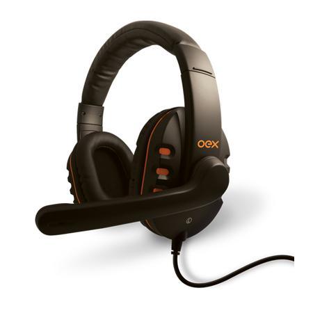 Headset Gamer Oex Action com Microfone HS-200 Preto/Laranja
