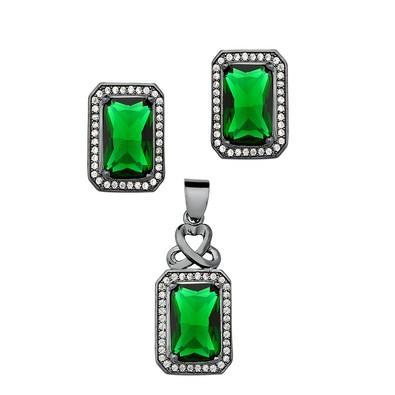 Conjunto de Brincos e Pingente Retangular Verde Esmeralda - CJMT077