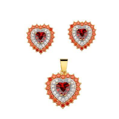 Conjunto de Brincos e Pingente Heart Vermelho Rubi com Micro Zircônias Vermelhas - CJEXCL01