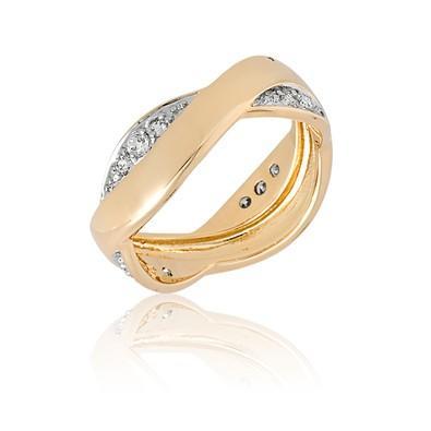 Anel Dourado Curve com Zircônias e Ouro Branco Tamanho 24 - ANZ0533