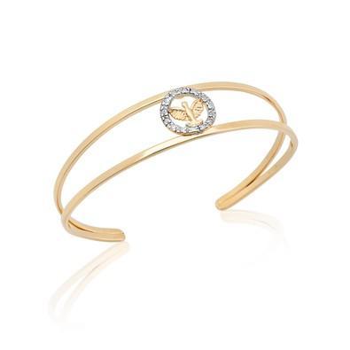 Bracelete Espírito Santo com Strass e Ouro Branco - BC0484