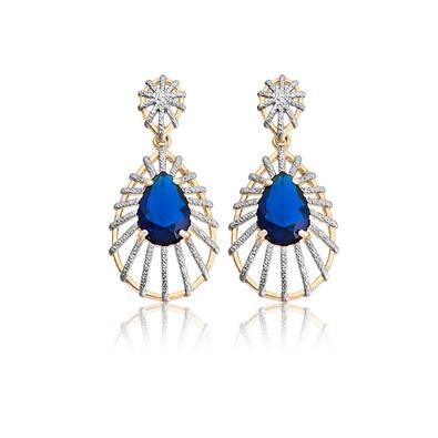 Brinco Gota Zafira Azul Royal e Ouro Branco - BKD0052