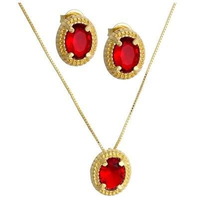 Conjunto Redondo Vermelho Rubi com Ouro Branco - CJ0026V-C