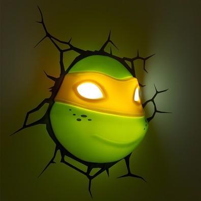 Luminária De Parede Geek 3D Light Fx Rosto do Michelangelo