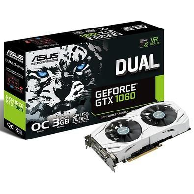 Placa de Vídeo VGA Asus NVIDIA GeForce GTX 1060 3GB GDDR5, 192-Bits, DVI, HDMI, DP - DUAL-GTX1060-O3G