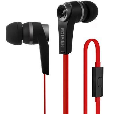 Fone de Ouvido Intra-auricular Com Microfone Preto e Vermelho Edifier H275p