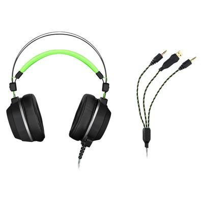 Headset Gamer Warrior USB e P2 com LED Verde - PH225