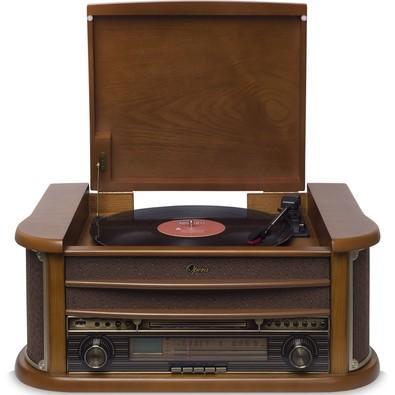 Toca Discos Vitrola Raveo Ópera BT - Bluetooth, CD, MP3, Fita K7, USB Reproduz e Grava, Aux. e FM 10W RMS Bivolt Natural Madeira