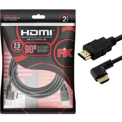 Cabo HDMI PIX 2m 2.0 4K 19 Pinos - Plug 90 Graus  018-3322