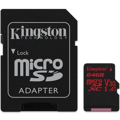 Cartão de Memória Kingston Canvas React MicroSD 64GB Classe 10 com Adaptador - SDCR/64GB