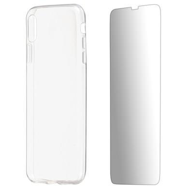 Kit 2 em 1 Celular Mart - Película de Vidro e Capa TPU Transparente Liso para Iphone XS Max