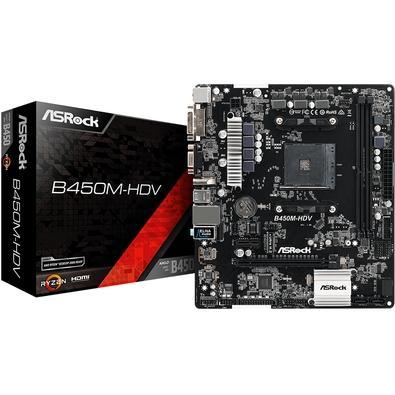 Placa-Mãe ASRock B450M-HDV, AMD AM4, mATX, DDR4
