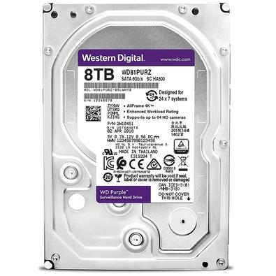 HD WD Purple Surveillance, 8TB, 3.5´, SATA - WD81PURZ