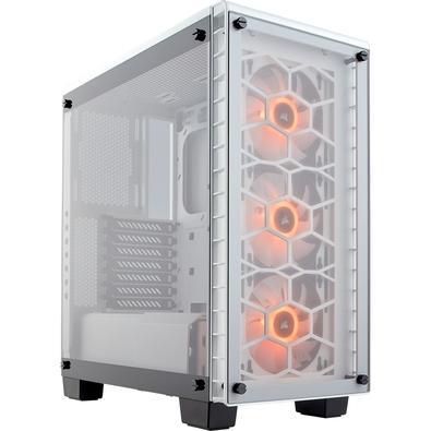 Gabinete Gamer Corsair Crystal 460x sem Fonte, Mid Tower, USB 3.0, 3 Fans RGB, Branco com Lateral em Vidro - CC-9011129-WW