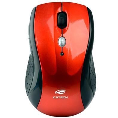 Mouse Sem Fio C3 Tech, Preto e Vermelho - M-W012RD V2