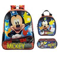 Mochila Escolar Mickey Mouse de Costa Xeryus com Lancheira e Estojo Tam G