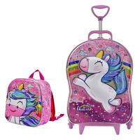 Mochila Escolar Feminina Cute Unicorn Sweets com Lancheira MaxToy